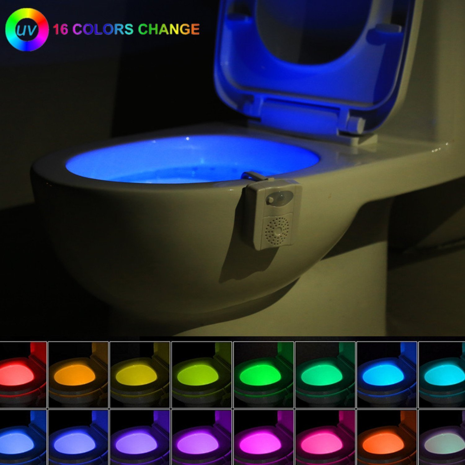 16-Color UV Sterilization Toilet Night Light Gadget, Motion Sensor Activated LED Lamp, Fun Washroom Lighting Add on Toilet Bowl Seat with Aromatherapy for Dad, Kids, Toddler Potty Training Funny Gifts Zezhou