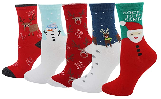 Women S Lady S 5 Pack Of Soft Christmas Moose Santa Snowflake Print Slipper Socks