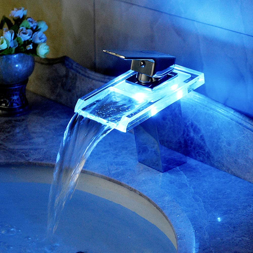 RGB Waterfall LED Washbasin Mixer Tap for Basin Chrome-Plated Brass and Glass for Bathroom and Kitchen