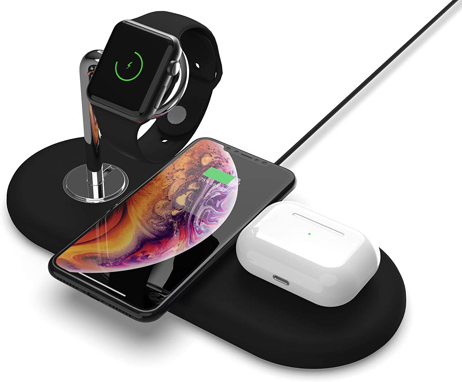 Wireless Charging Pad for Phone & Electronics - 5 Coil - 3 in 1 Charger for Apple iPhone 8, XR, 11 & iWatch, Samsung Galaxy - 5W 7.5W 10W Fast Charge 18W Qualcomm 3.0 Adapter and USB-C Included