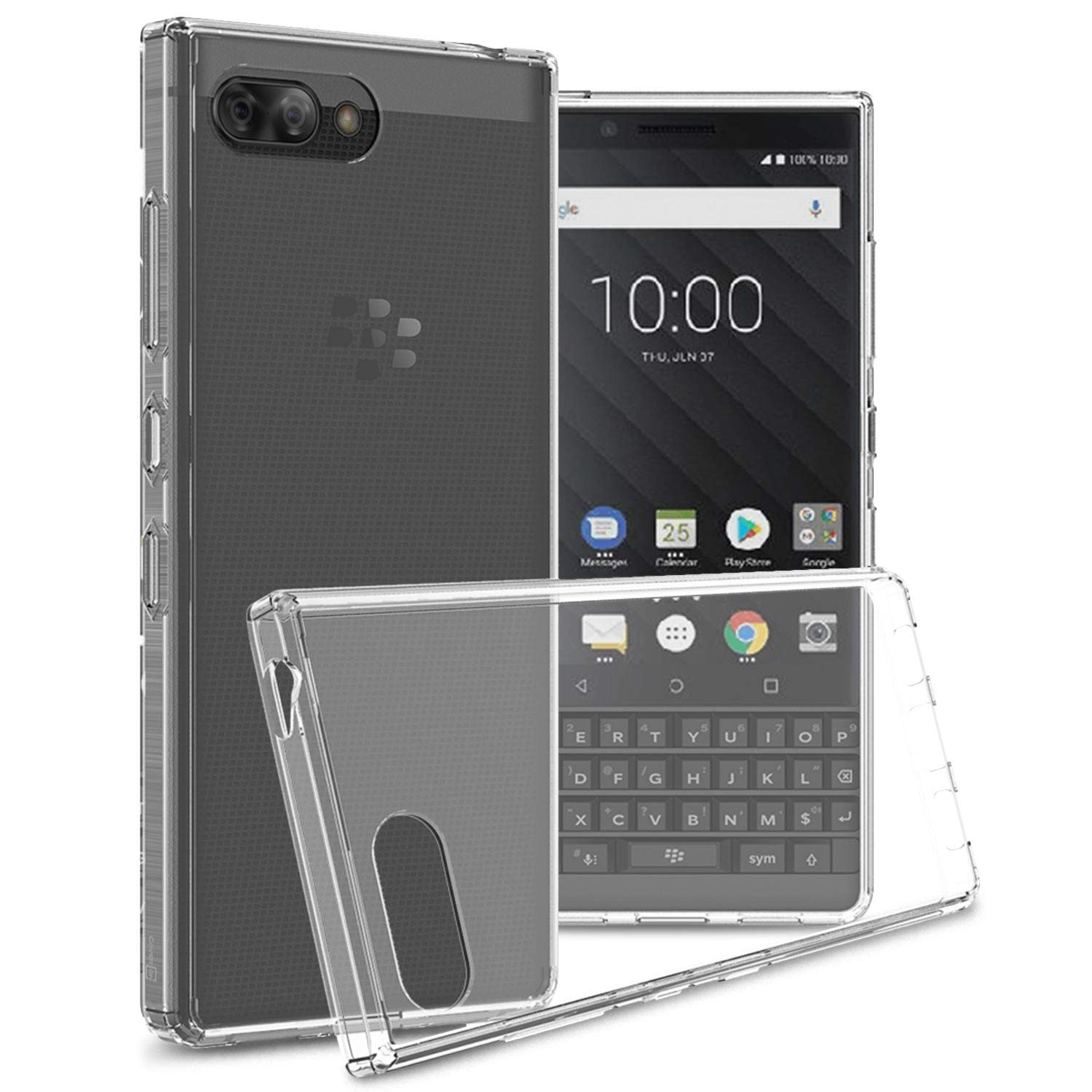 huge selection of ae09d 2da48 CoverON [ClearGuard Series] For Blackberry KEY2 Clear Case, Slim Fit Phone  Cover with Clear Hard Back and TPU Bumpers for Blackberry KEY2 - Clear