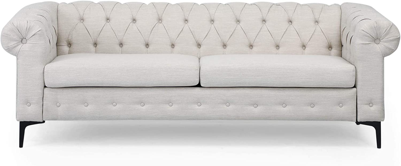 Christopher Knight Home Nina Fabric 3 Seater Sofa, Beige, Black