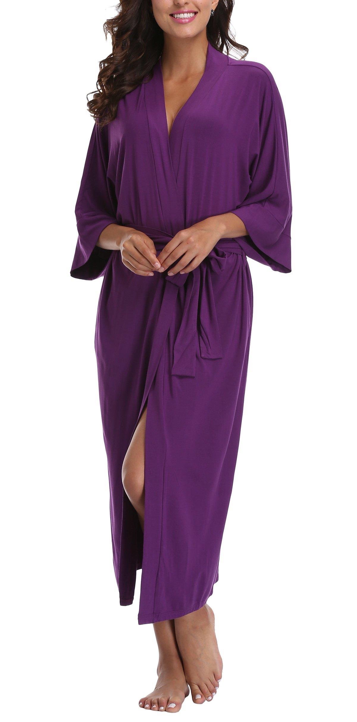 WitBuy Women's Soft Long Modal Cotton Robe Pure Knit Bathrobe V-Neck Nightgown Purple M