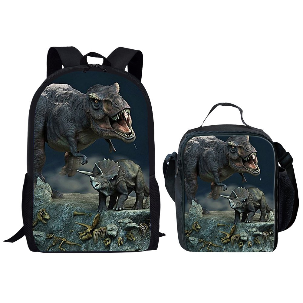 HUGS IDEA 3D Dinosaur Printed School Backpack and Insulted Lunch Bag Set for Kids Teen Boys (T-rex and Triceratops)