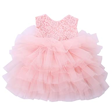 115772173c Cilucu Baby Girls Dress Toddler Kids Party Dress Tutu Pageant Lace Dresses  Gown for Flower Girl Baby Birthday Pink Peach