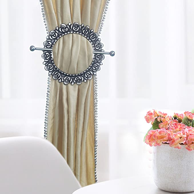 Silver Mumustar 01 Harpily Sliver 2 Pack Magnetic Curtain Tie Backs Crystal Flower Tie Backs Clip Curtain Holder Buckles Decorative Curtain Holdbacks for Window Sheer And Blackout Panels