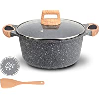 Hansubute Nonstick Induction Stone Casserole Soup Pot with Soft Touch Handle and Glass Lid,Cooking Shovel Included…