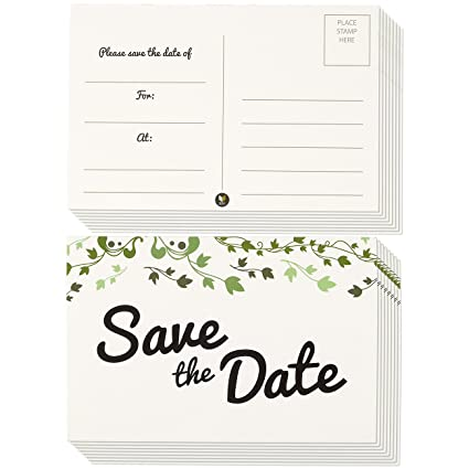 50 Pack Save The Date Postcards Fill In Reminder Cards Perfect For Weddings Engagements Baby Showers Birthday Parties Floral Ivy Leaf Design 4