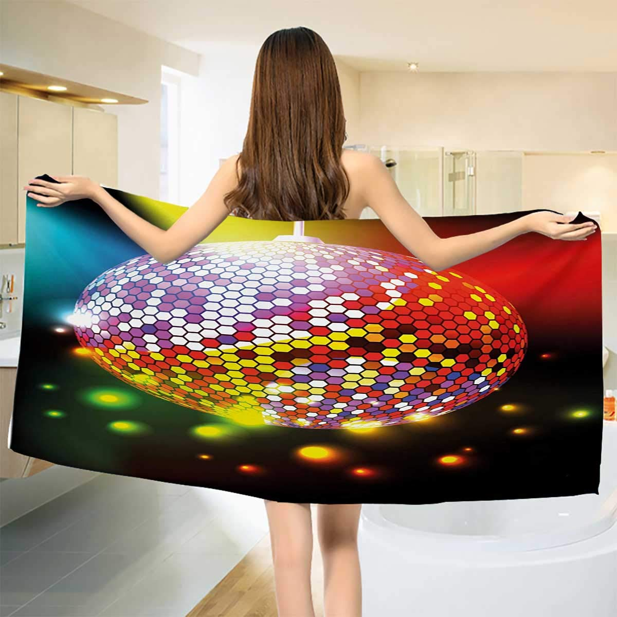Chaneyhouse Popstar Party,Bath Towel,Vibrant Colorful Disco Ball Nightclub Celebration Party Dance and Music Print,Bathroom Towels,Multicolor Size: W 31.5'' x L 63''