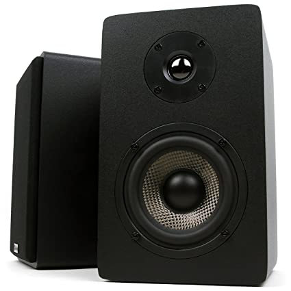 Micca MB42X Bookshelf Speakers With 4 Inch Carbon Fiber Woofer And Silk Dome Tweeter