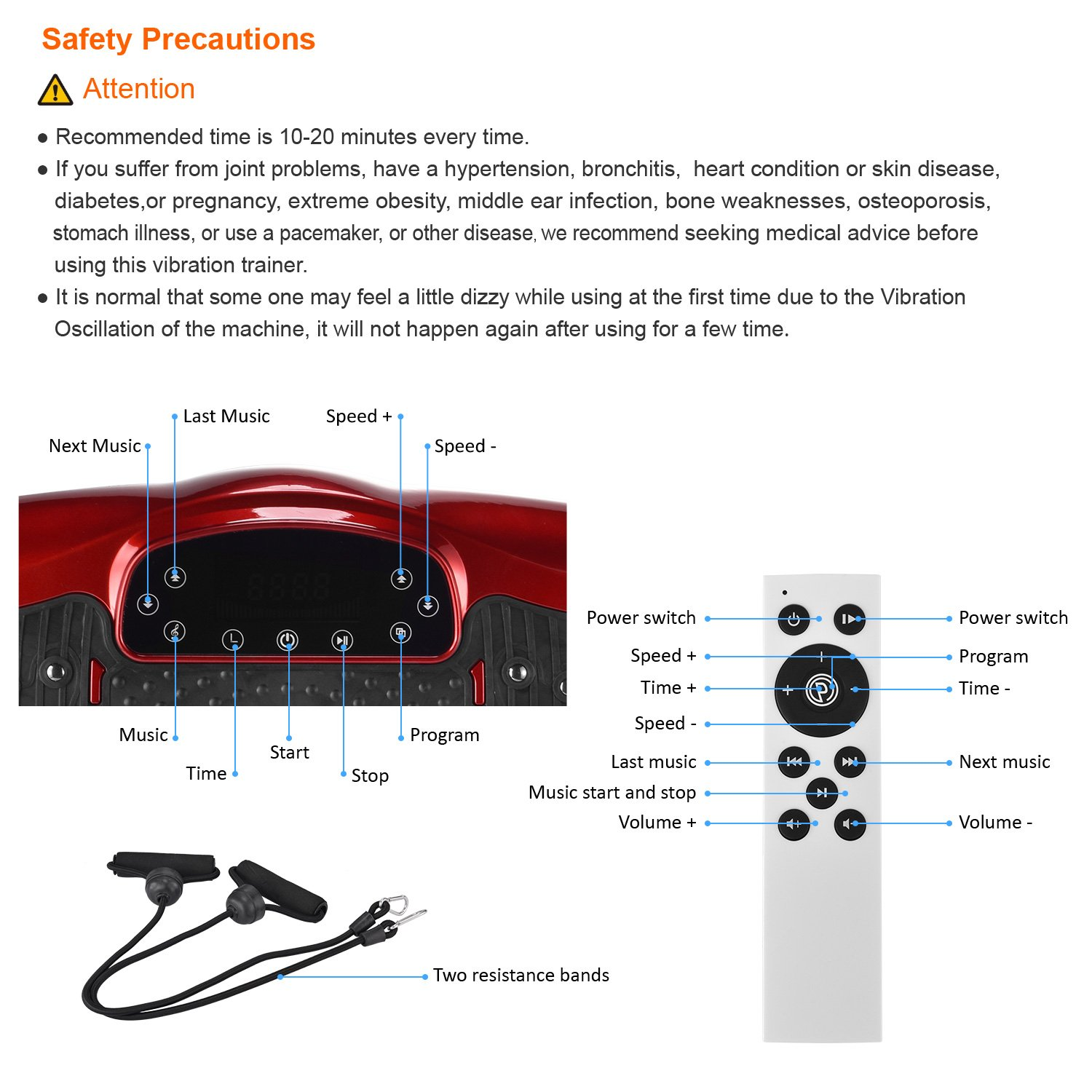 iDeer Vibration Platform Fitness Vibration Plates,Whole Body Vibration Exercise Machine w/Remote Control &Bands,Anti-Slip Fit Massage Workout Vibration Trainer Max User Weight 330lbs (Red09006) by IDEER LIFE (Image #7)