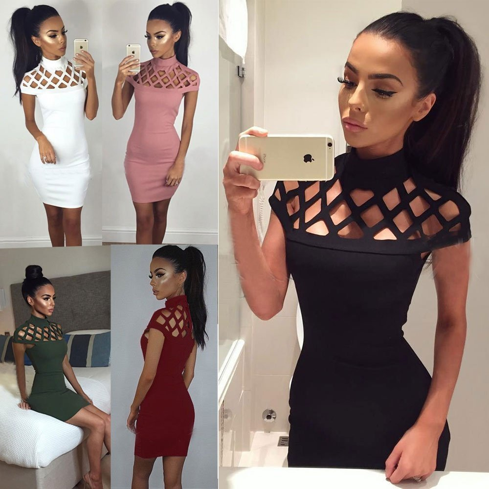 Leijing Women Hollow Out Bandage Bodycon Slim Short Sleeve Evening Party Cocktail Pencil Mini Dress multi-color one size