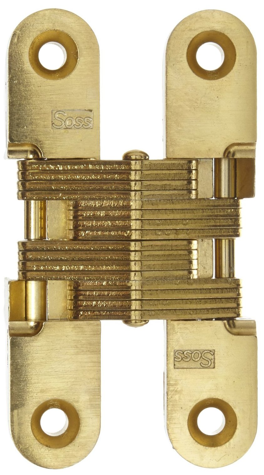 SOSS Mortise Mount Invisible Hinge with 4 Holes, Zinc, Satin Brass Finish, 2-3/8'' Leaf Height, 1/2'' Leaf Width, 23/32'' Leaf Thickness, 8-32 x 5/8'' Screw Size (1 Pair)