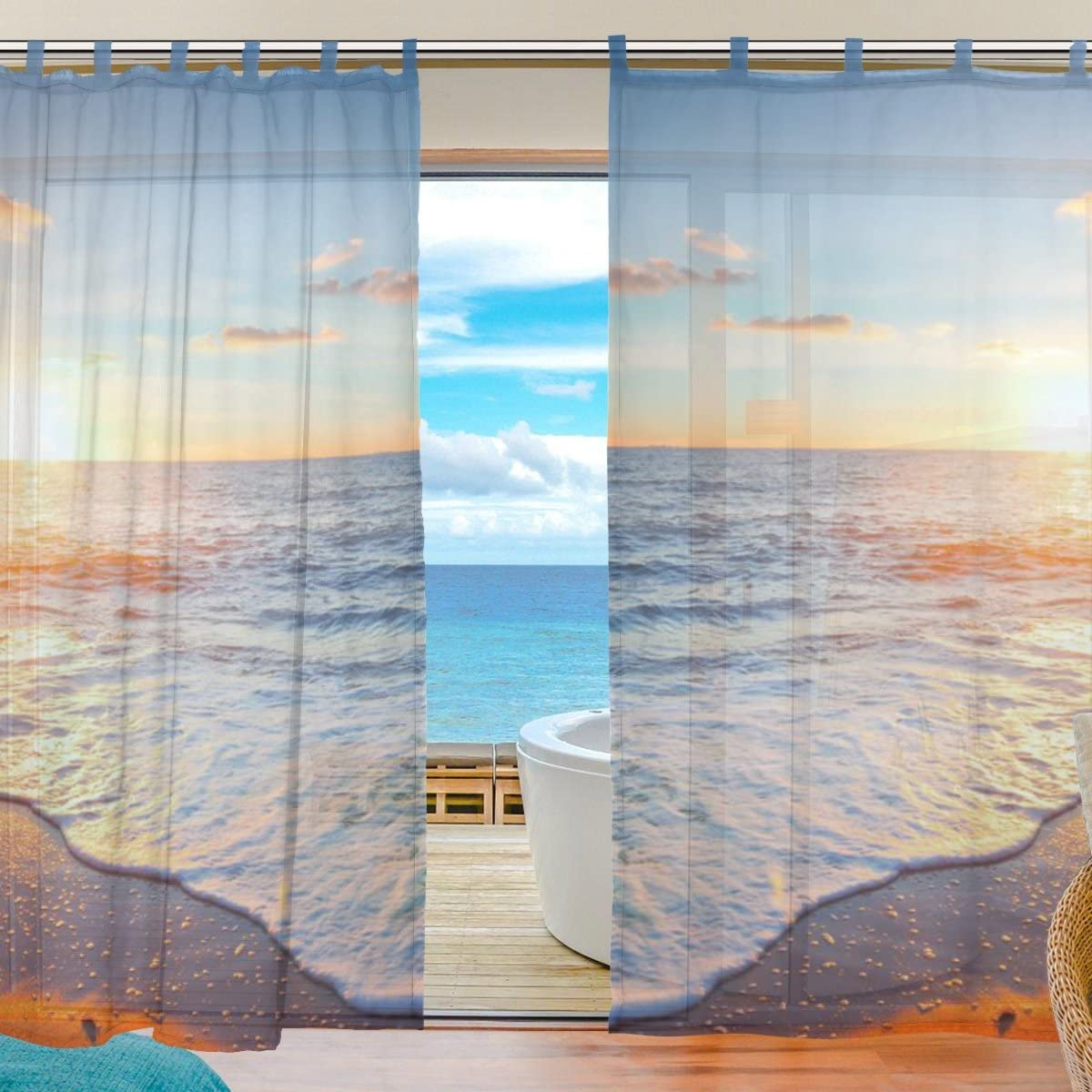 INGBAGS 2 Pieces Bedroom Decor Living Room Decorations Sunset Beach Coastal Pattern Print Tulle Polyester Door Window Gauze Sheer Curtain Drape Two Panels Set 55×78 inch E41