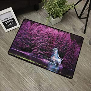 """Buck Haggai Patio All-Weather mat Lavender,Purple Trees by a Lake with Blue Wooden Rustic Lakehouse Lodge Romantic Spring Nature, Purple,for Kitchen Dining Living Hallway Bathroom 16""""x24"""""""