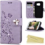 Galaxy S7 Case,Mavis's Diary 3D Handmade Embossed Wallet Bling Diamonds Butterfly Flowers PU Leather Magnetic Flip Folio Protective Shockproof Cover Card Holders - Purple