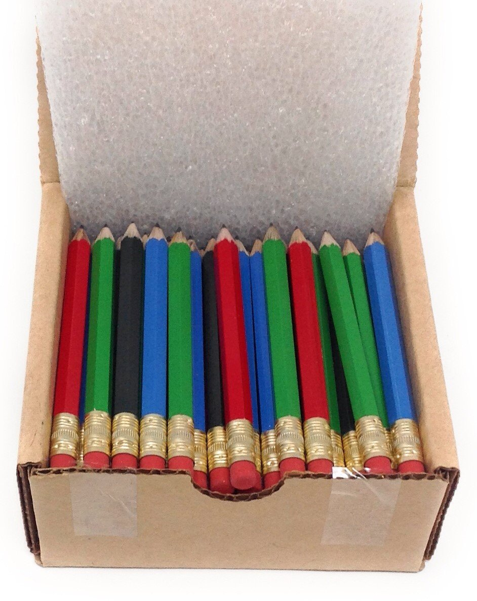 Half Pencils with Eraser - Golf, Classroom, Pew - #2 Hexagon, Sharpened, Box of 72. Color: Four Mixed Classic by Musgrave Pencils/beacon-ridge