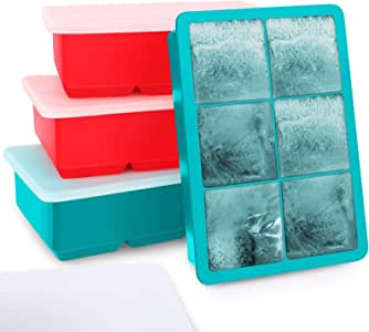 Kootek Ice Cube Trays 4 Pack - Silicone Ice Tray for Making 24 Pcs Large Ice Cubes, Easy Release Reusable Molds Maker with Removable Lids for Chilling Whiskey Wine Cocktail Beverages (Green and Red)