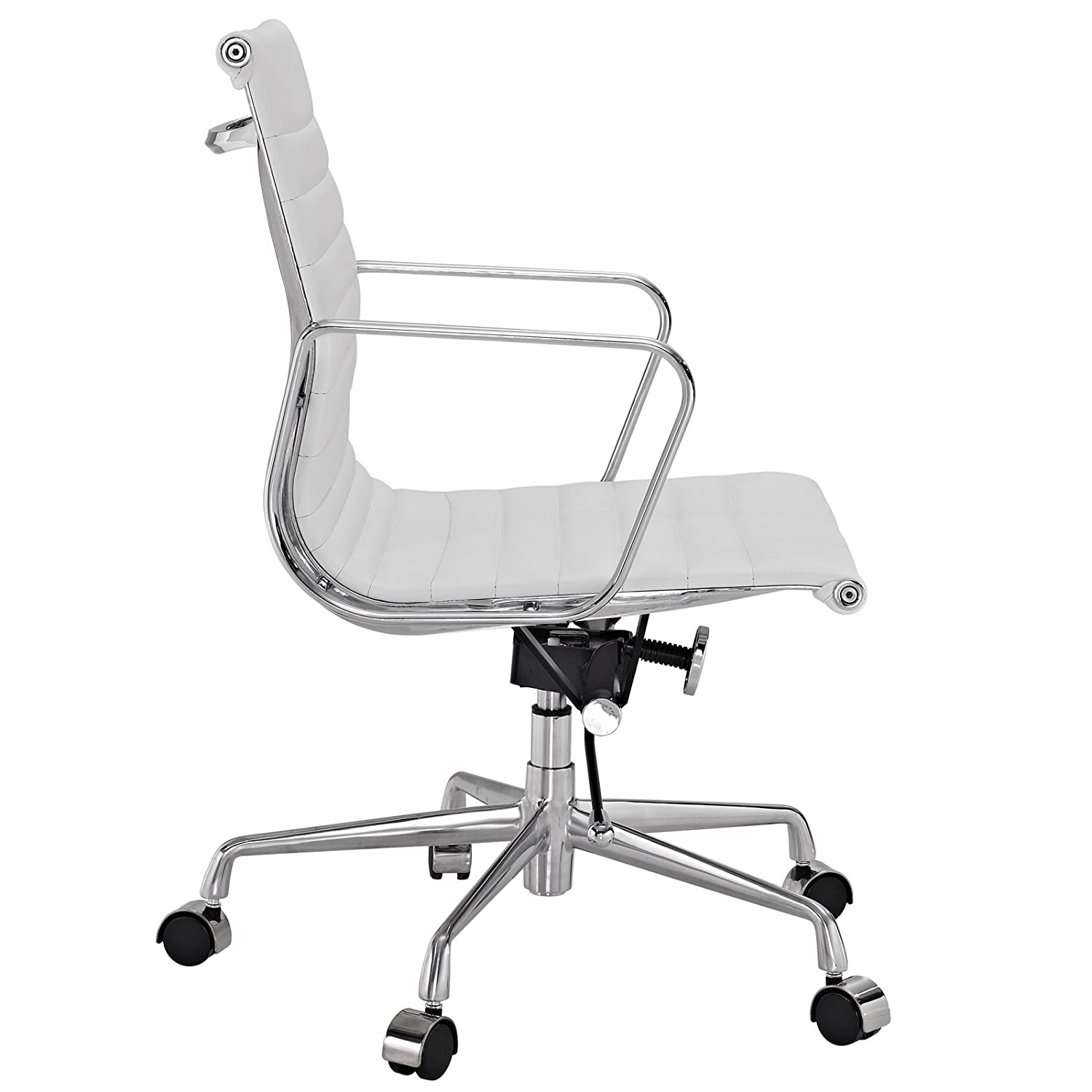 eames style office chairs. Amazon.com: Modway Ribbed Mid Back Office Chair In White Genuine Leather: Kitchen \u0026 Dining Eames Style Chairs