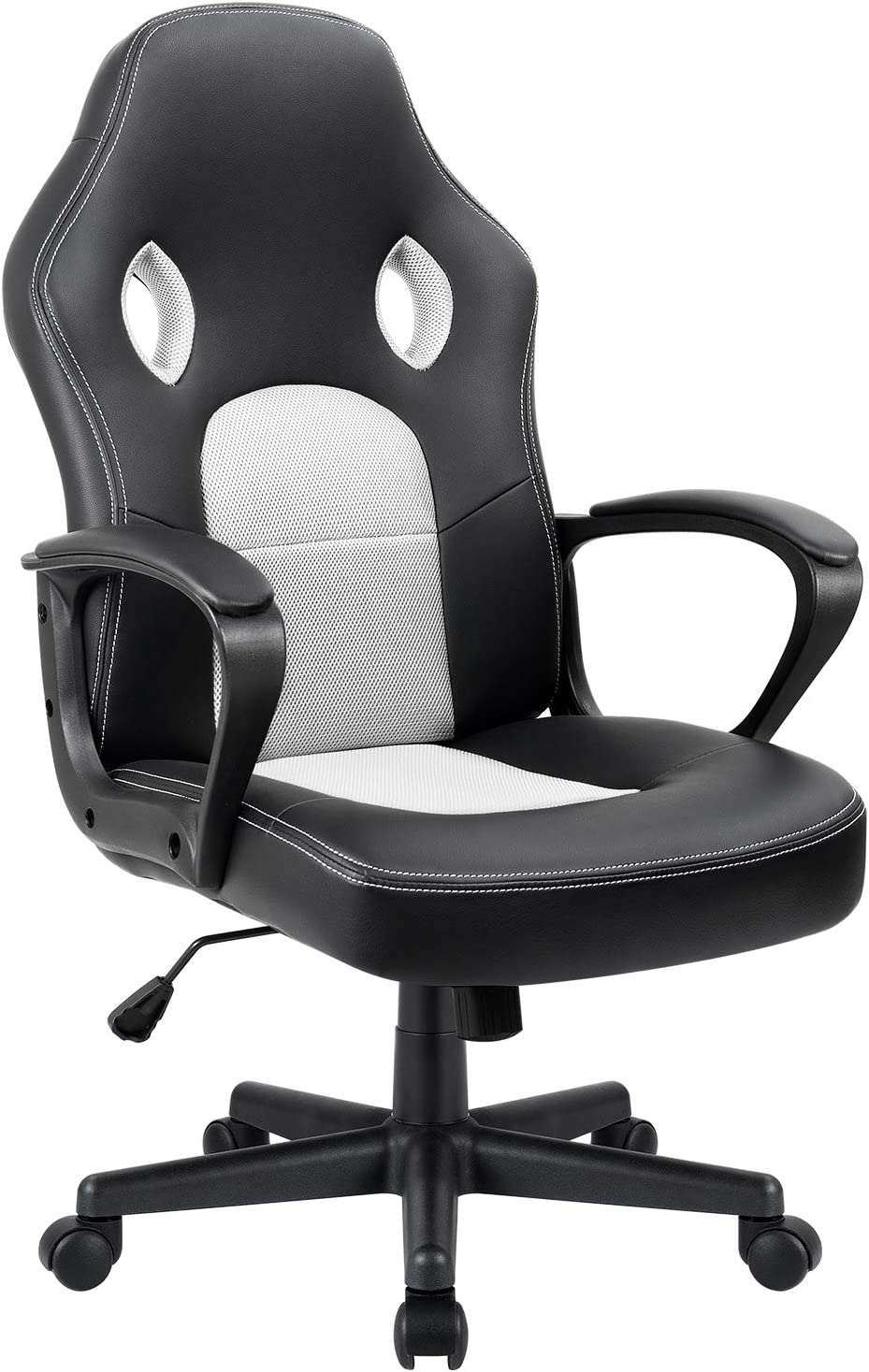 Furmax Office Chair Desk Leather Gaming Chair, High Back Ergonomic Adjustable Racing Chair,Task Swivel Executive Computer Chair Headrest and Lumbar Support (White)