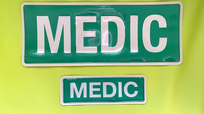 MEDIC 250 Green Encapsulated Badge Set for Clothing Bag or Vehicle