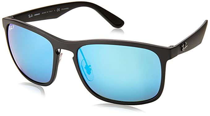 6e15aba9be4a10 Ray-Ban RB4264 Chromance Lens Square Sunglasses, Black Frame Blue Mirror  Lens (