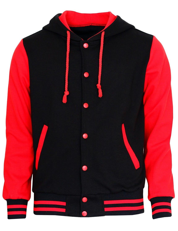 Red varsity jacket with black sleeves