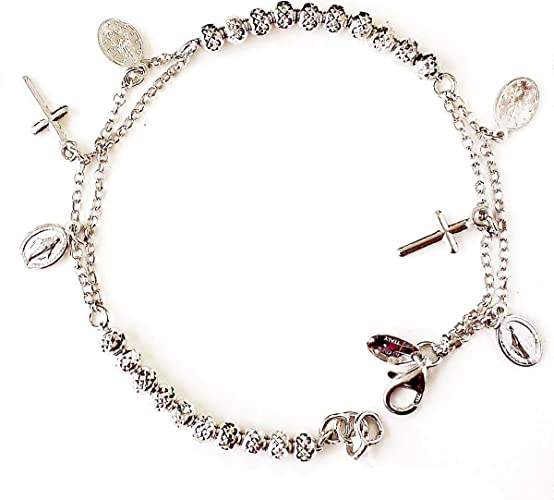 with Secure Lobster Lock Clasp Solid 925 Sterling Silver Dark Pink Crystals /& Dangling Butterflies Anklet Bracelet
