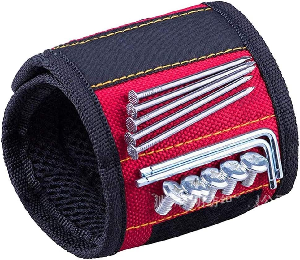 15-Powerful Magnets Magnetic Tool Belt Wristband Tool Belt Magnetic Screws Wristband Magnetic Wristband for Holding Small Tools,Screws,Drills,Nails