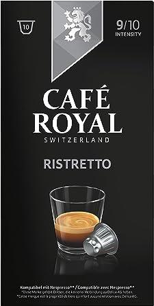 Café Royal Ristretto cápsulas compatibles con Nespresso - Intensidad: 9/10, Pack de 10 cápsulas - UTZ 100 % Arábica: Amazon.es: Alimentación y bebidas