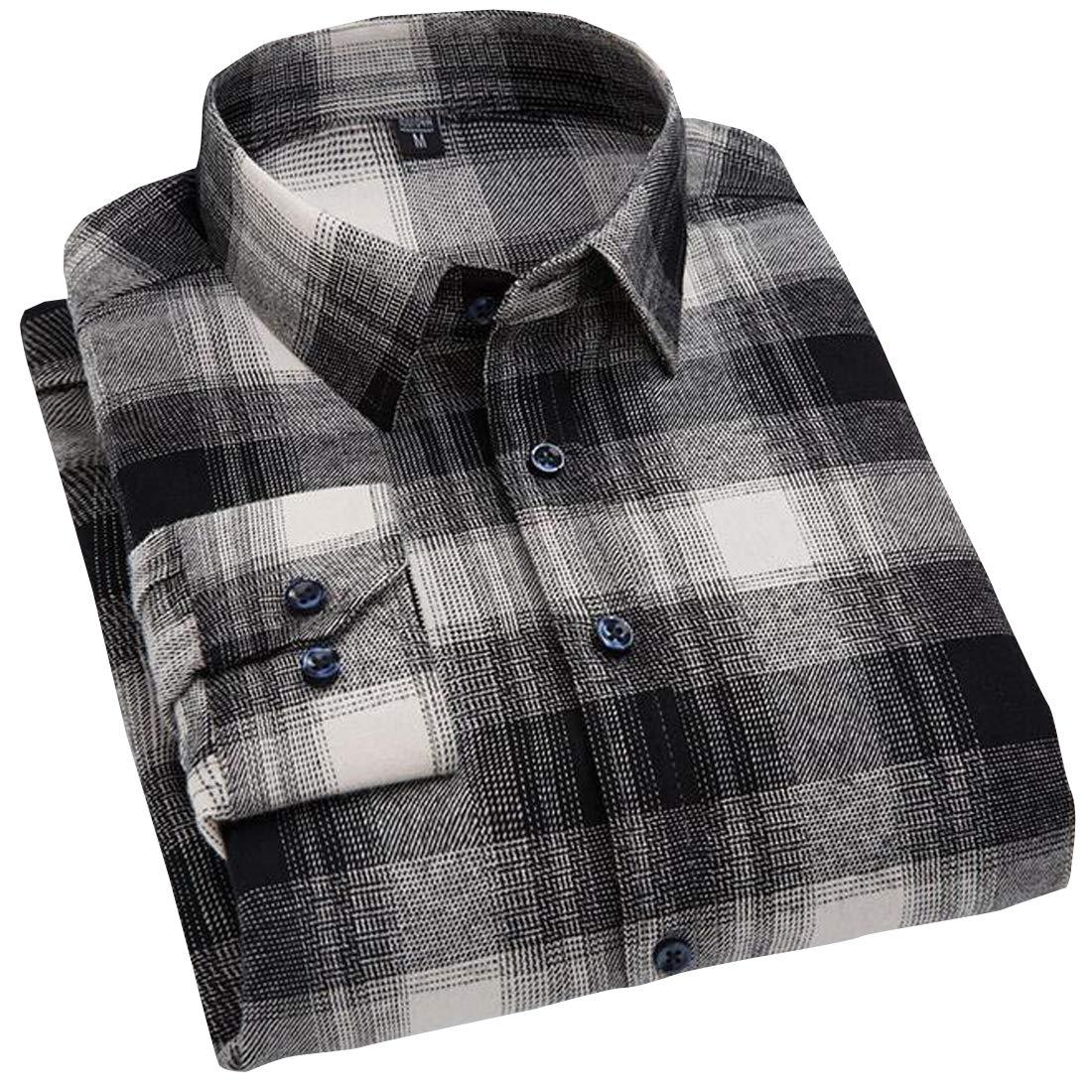 Pivaconis Mens Slim Long Sleeve Button Down Check Cotton Casual Buffalo Shirts