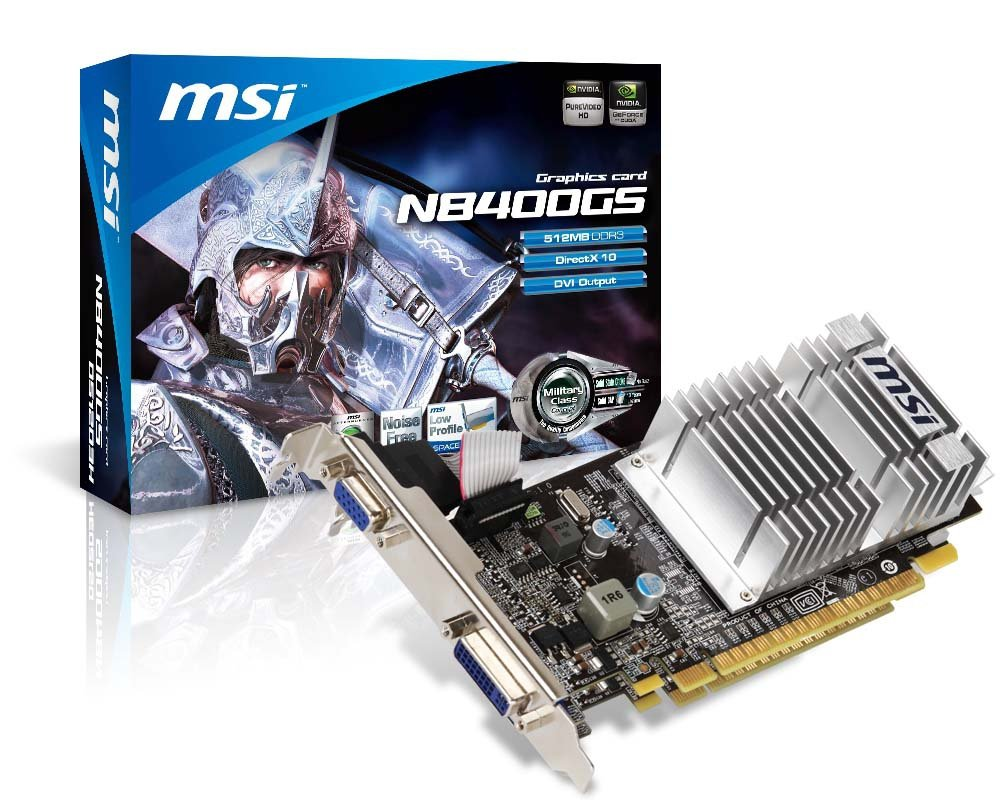 MSI N8400GS-D512D3H GeForce - Tarjeta gráfica NVIDIA (PCI-e, Memoria de 512 MB GDDR2, VGA, 1 GPU)