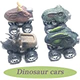 Anditoy 4 Pack Pull Back Cars Big Tire Wheel Vehicles Playset Dinosaur Toys Truck for Kids Toddlers