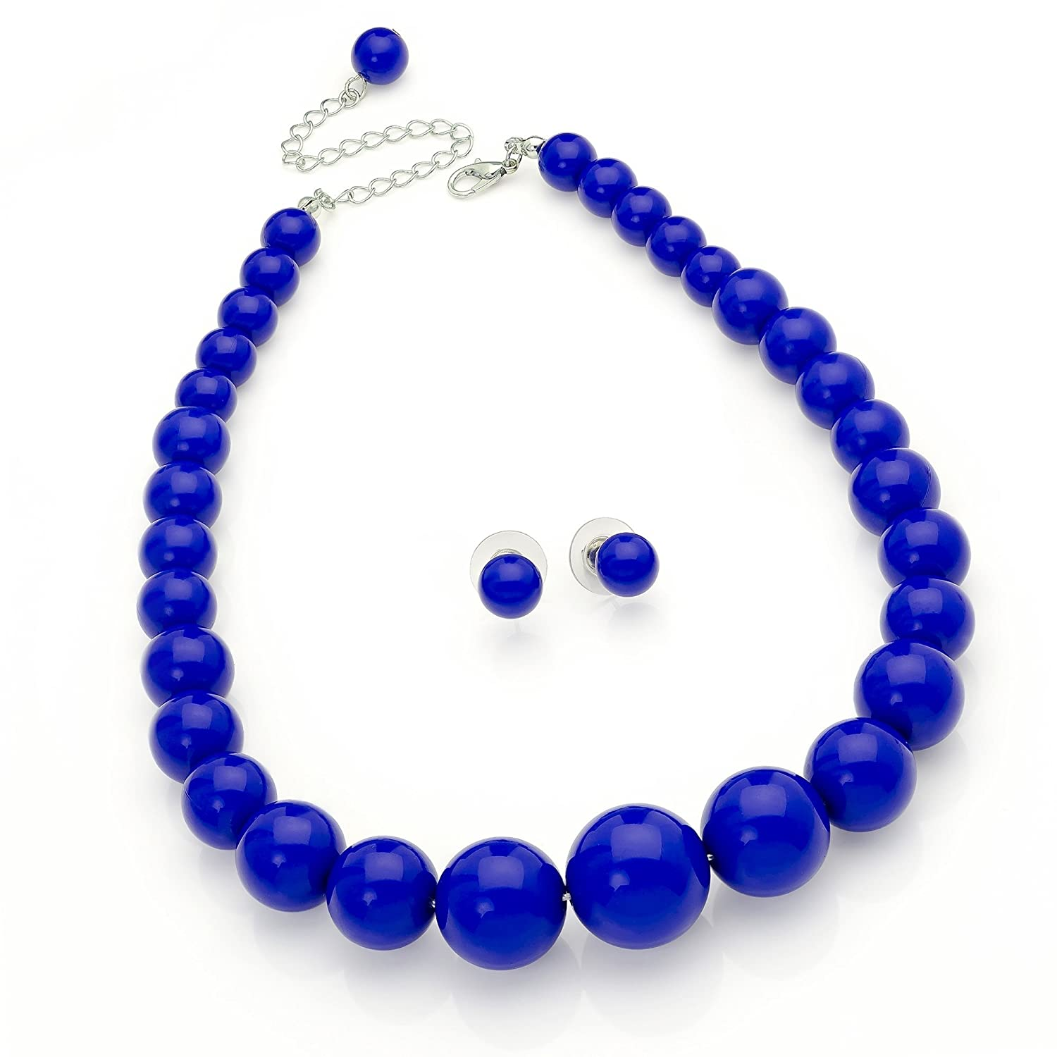 necklace blue beaded by bead and dark product afsheen handmade pink