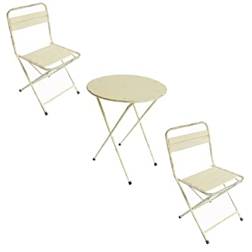 NACH TH SET C Vintage Style Folding Chairs And Round Folding Table, Cream