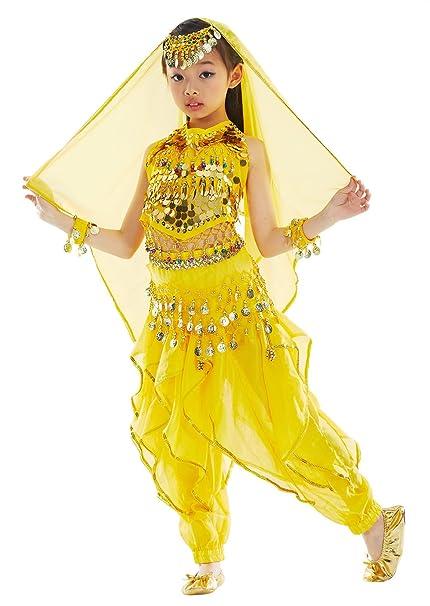 BELLYQUEEN Cojunto Danza Oriental 7 Piezas Belly Dance Traje de Disfraz Carnaval para Nña 8-11 Años - Amarillo