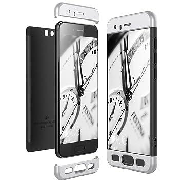 CE-Link Funda Huawei Honor 9, Carcasa Fundas para Huawei Honor 9, 3 en 1 Desmontable Ultra-Delgado Anti-Arañazos Case Protectora - Plata + Negro