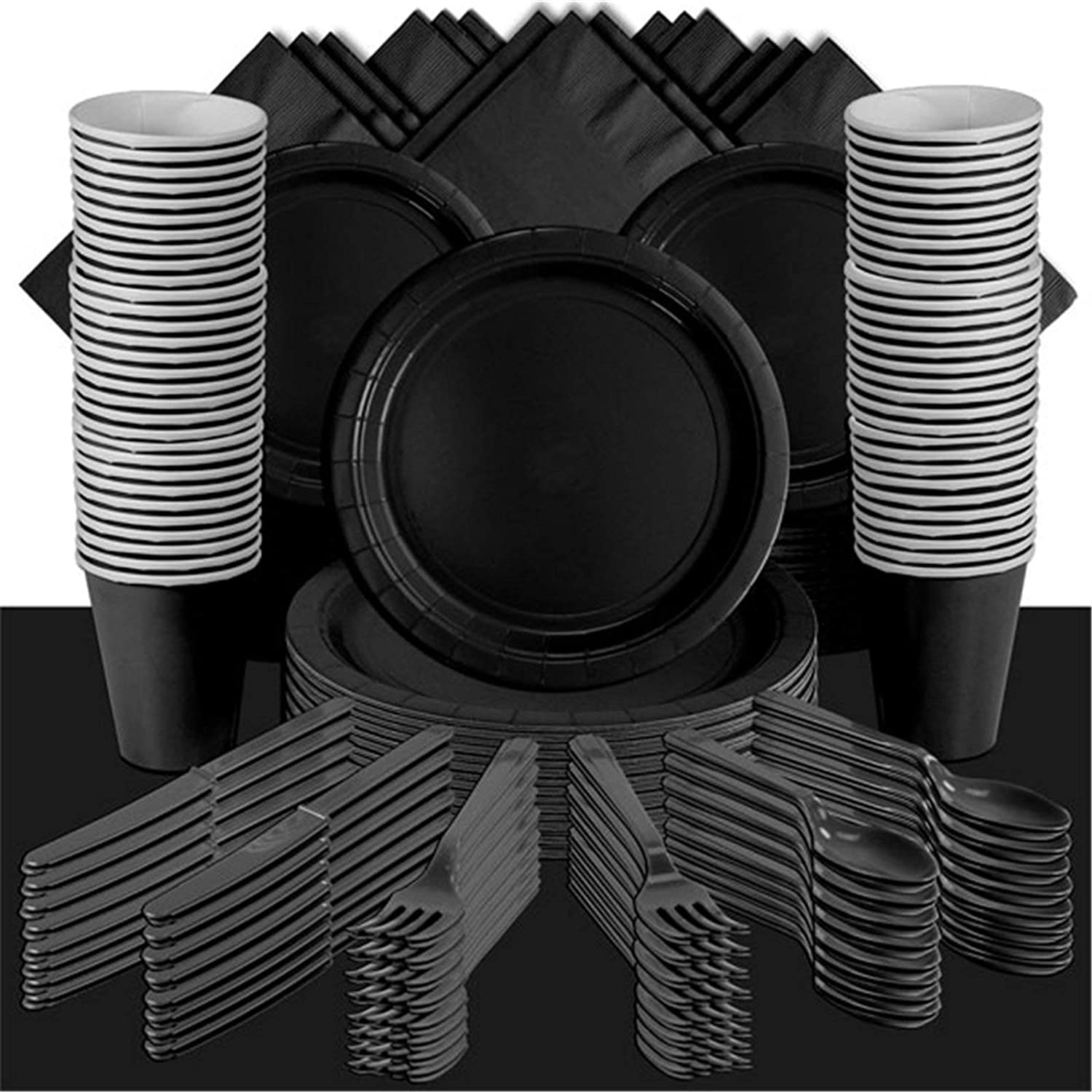 Plain Black Themed Party Supplies  Solid Colour Pack For 100 People