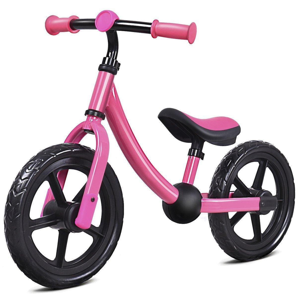Costzon 12'' Balance Bike, Adjustable Handlebar and Seat, No Pedal Walking Bicycle for Kids (Pink, 1-3 Years Old)