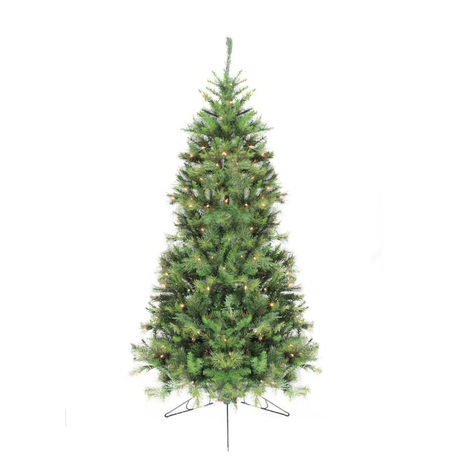 Northlight 6.5' Pre-Lit Canyon Pine Artificial Half Wall Christmas Tree - Clear Lights by Northlight