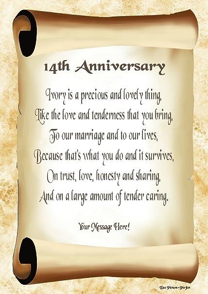 14th Anniversary Personalised Poem Gift Print Amazoncouk Kitchen