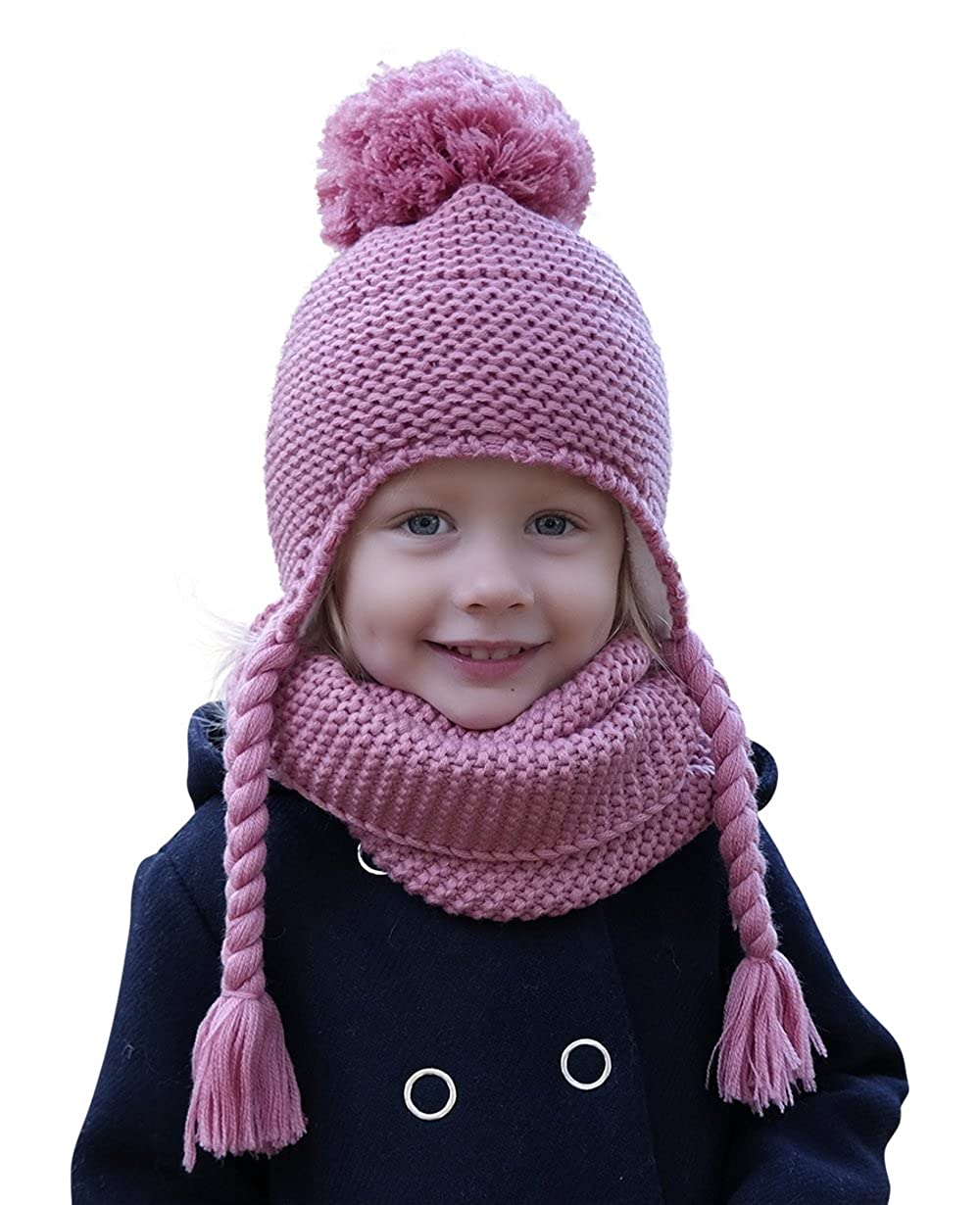 HILLTOP winter set for children of winter scarf and matching knitted hat/beanie with pompom/different colors. color: 1A-pink