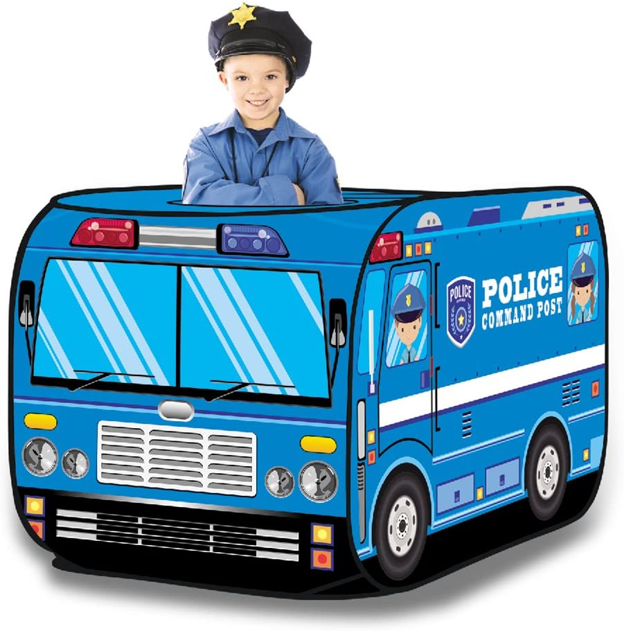 Liberty Imports Kids Pop Up Play Tent - Foldable Indoor and Outdoor Playhouse for Toddlers, Boys and Girls (Police Car)
