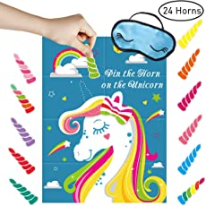 Unomor Pin The Horn On The Unicorn Party Game for Unicorn Party Supplies, Girl Party Games Include Large Unicorn Poster (28inchX21inch), 24 Sticker Horns and Blindfold