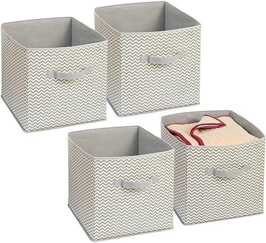 mDesign Juego de 4 cajas organizadoras en tela - Organizadores para armarios - Caja para organizar ropa, juguetes y sábanas en armarios - topo/natural: Amazon.es: Hogar