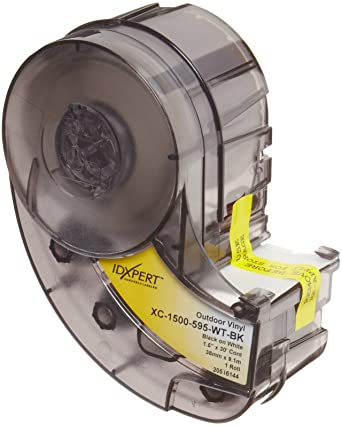 TM 30ft. //Cartridge Brady XC-1000-595-WT-RD IDXPERT /& LABXPERT Printable Area: 19.000 W x 1.000 H 1 roll Labels  B- 595 Indoor//Outdoor Vinyl Film Red on White TM