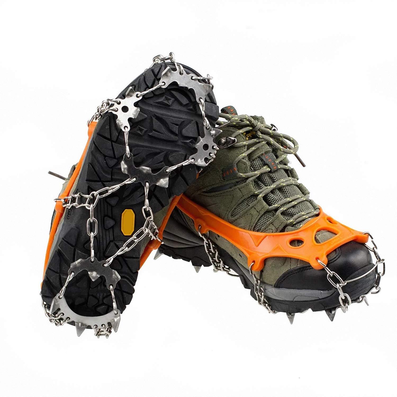 LANDWIND アイス スノー グリップ アンチスリップ クランポン 10/18 マンガンスチール スパイク トラクションクリート ユニセックス シューズ 滑り止めグリップ クライミング ハイキング 登山 M-18 Steel Spikes(Boots:M 6-7.5/W 5.5-8)