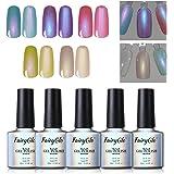 5PCS Pearl Nail Polish Mermaid Gel Manicure Salon Decor Nail Art Elegant Shell Shiny Under Light UV LED Soak Off Gift Set FairyGlo 10ml 001