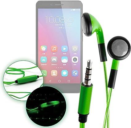 DURAGADGET Auriculares In-Ear con Luz LED Verde para Smartphone Huawei Honor 5C, Huawei Mate 9 Lite, Huawei Y6 II Compact: Amazon.es: Electrónica