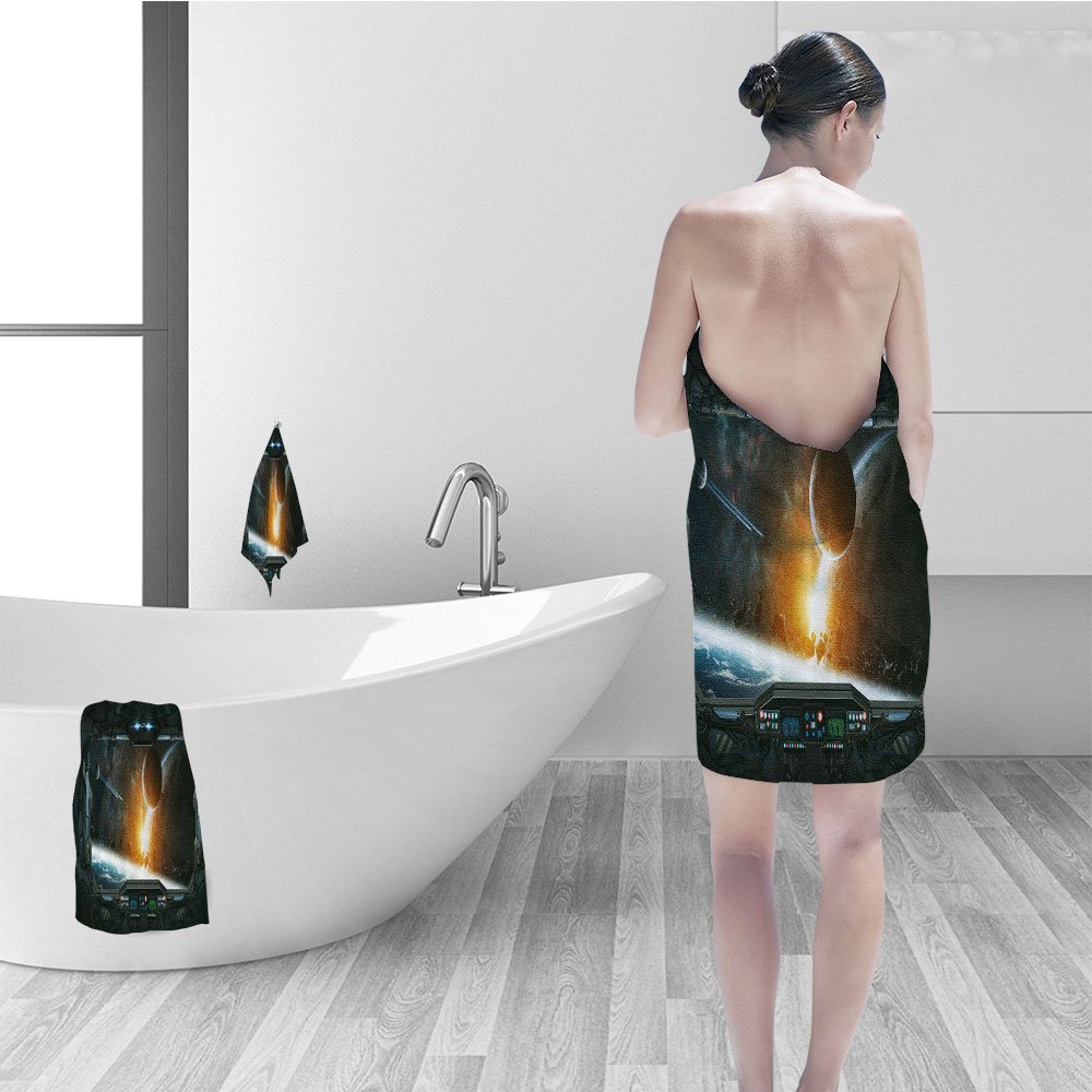 Nalahomeqq Hand towel set Outer Space Decor Scenery of Planets from the Window of Shuttle Bodies Astronaut Look Fabric Bathroom Decor Gray Orange